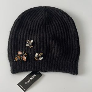 Express Bee Embellished Beanie Black Knit Hat